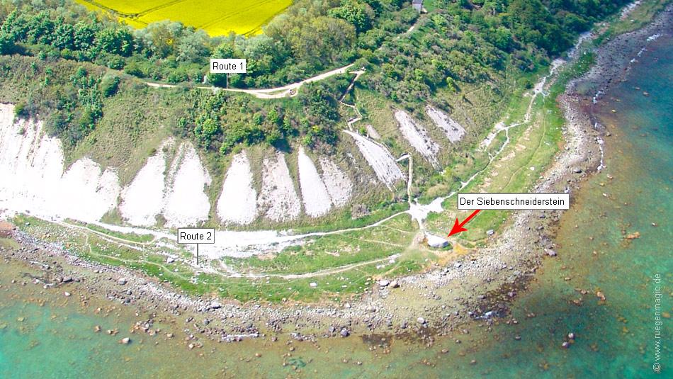 Luftaufnahme mit Lage des Siebenschneidersteines