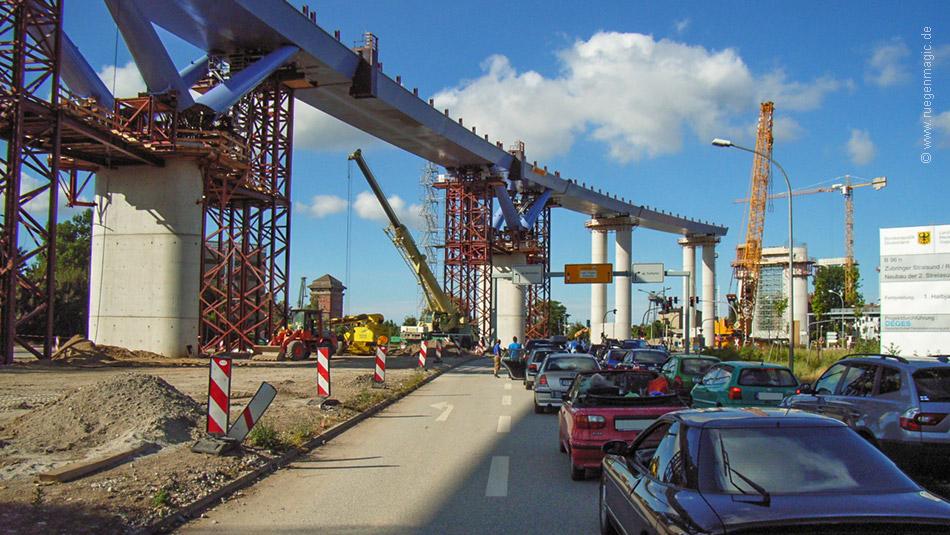 Baumaßnahme am 18.07.2005 am südlichen Teil der Rügenbrücke