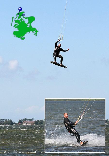 Kiten auf dem Wieker Bodden, Insel Rügen
