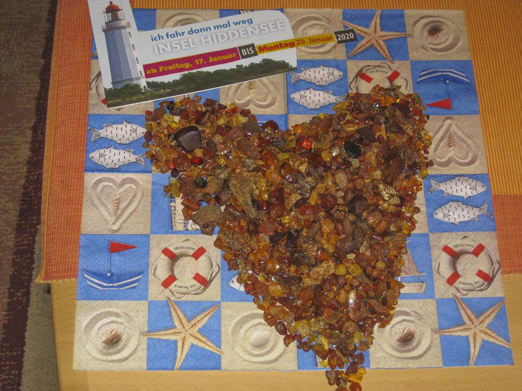 328 Gramm Bernstein, gefunden an nur 3 Tagen im Januar 2020 auf der Insel Hiddensee