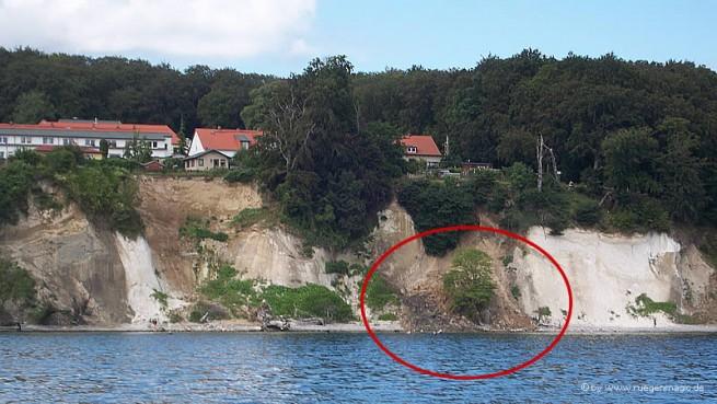 Kreideabbruch unterhalb des Wohngebietes Wissower Strasse in Sassnitz