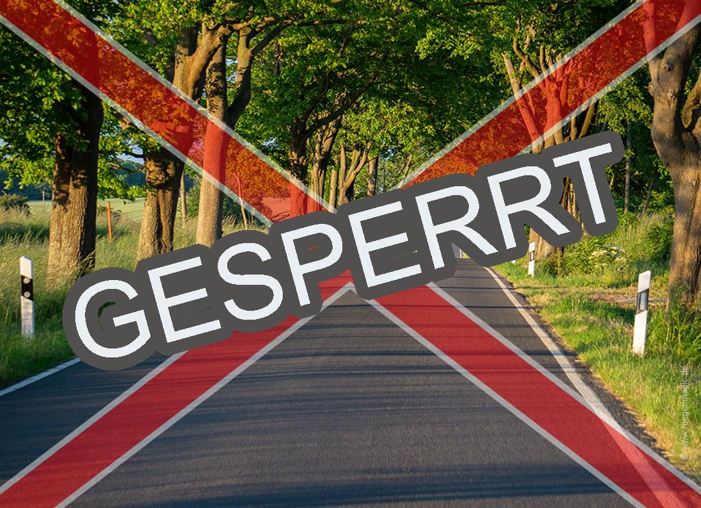 Geperrte Straße auf Rügen