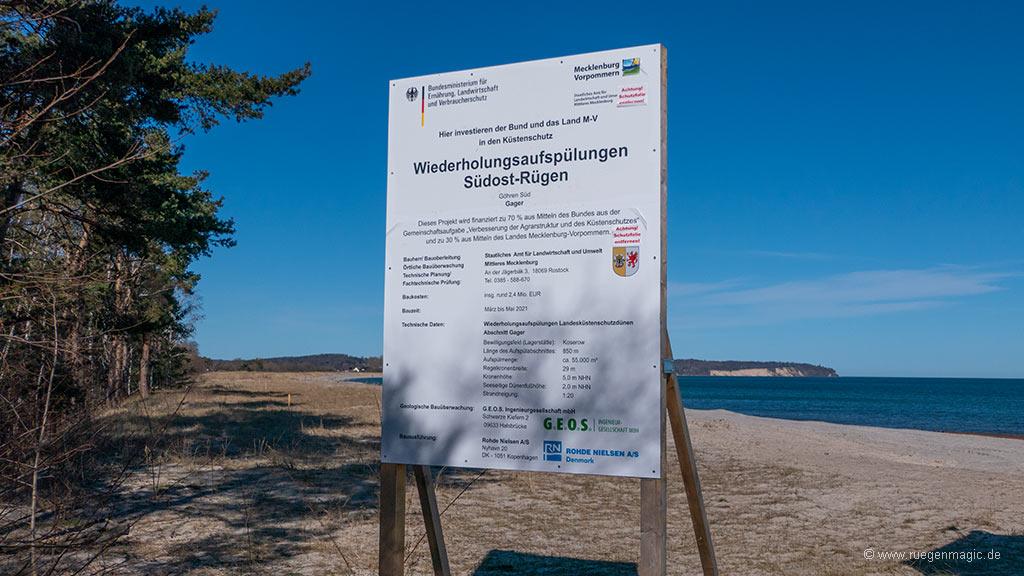 Schild Wiederholungsaufspülungen Südost-Rügen