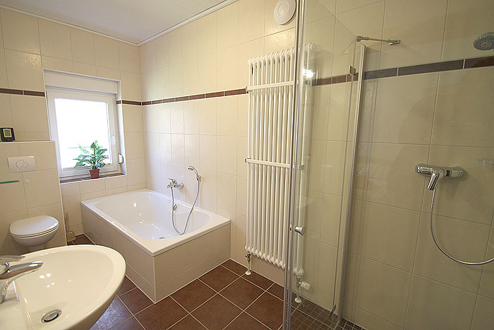 Second bath room in apartment No.2, with shower and bathtub